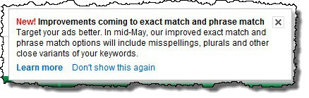 AdWords match types change notice